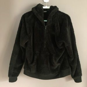 Fila Black Faux Fur Half-Zip Hooded Pullover XL